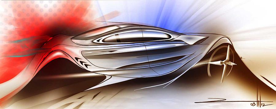 Digital Painting Painting - Mechanical Emotions Flow by Rahul Rathore