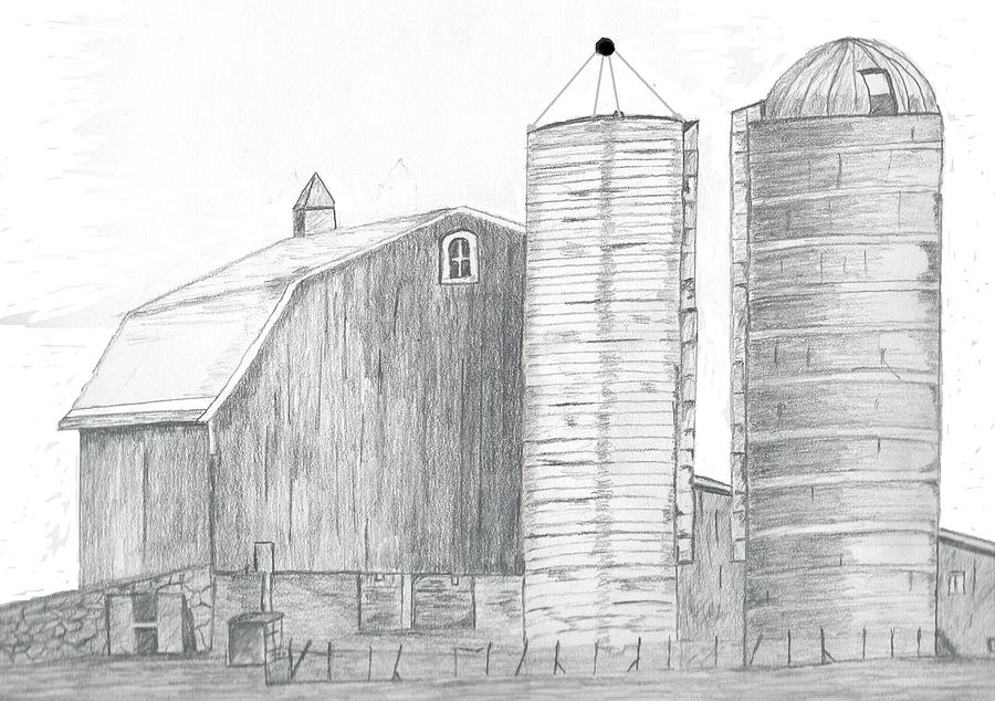 medina ny barn and silos drawing by jim patrick