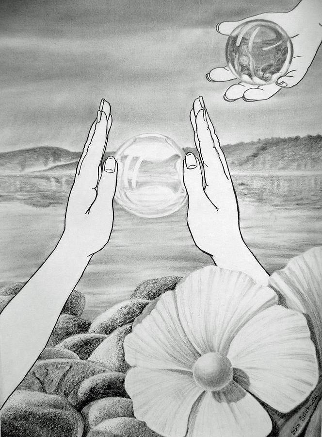 Glass Drawing - Meditation  by Irina Sztukowski