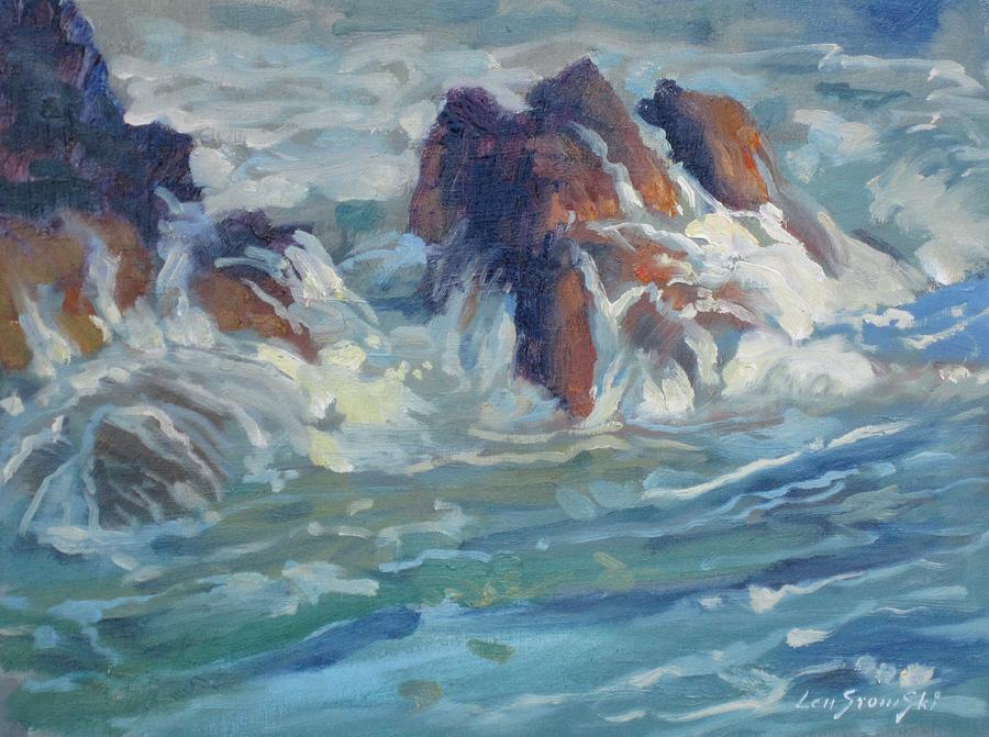 Seascape Painting - Mediterranean Back Wash by Len Stomski