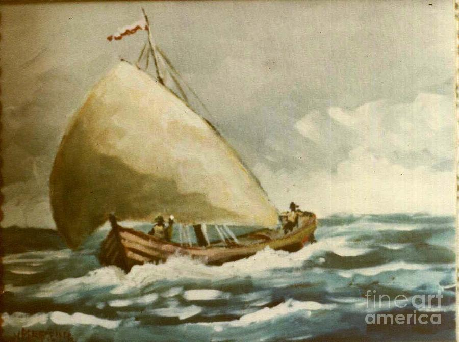 Sailboat Painting - Mediterranean Boat by Jean Pierre Bergoeing