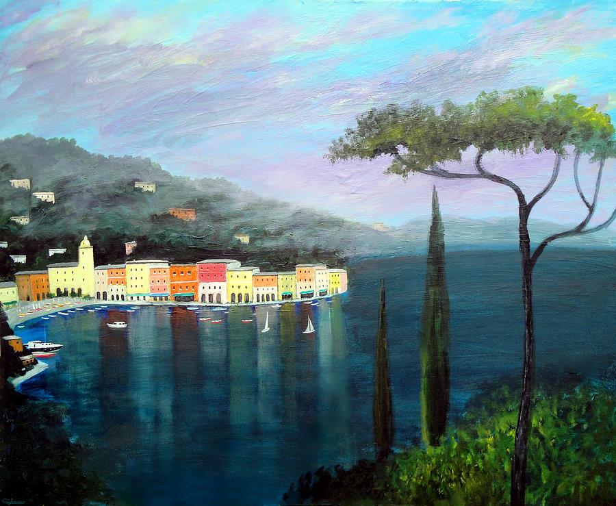 Portofino Italy Painting - Mediterranean  Mist by Larry Cirigliano