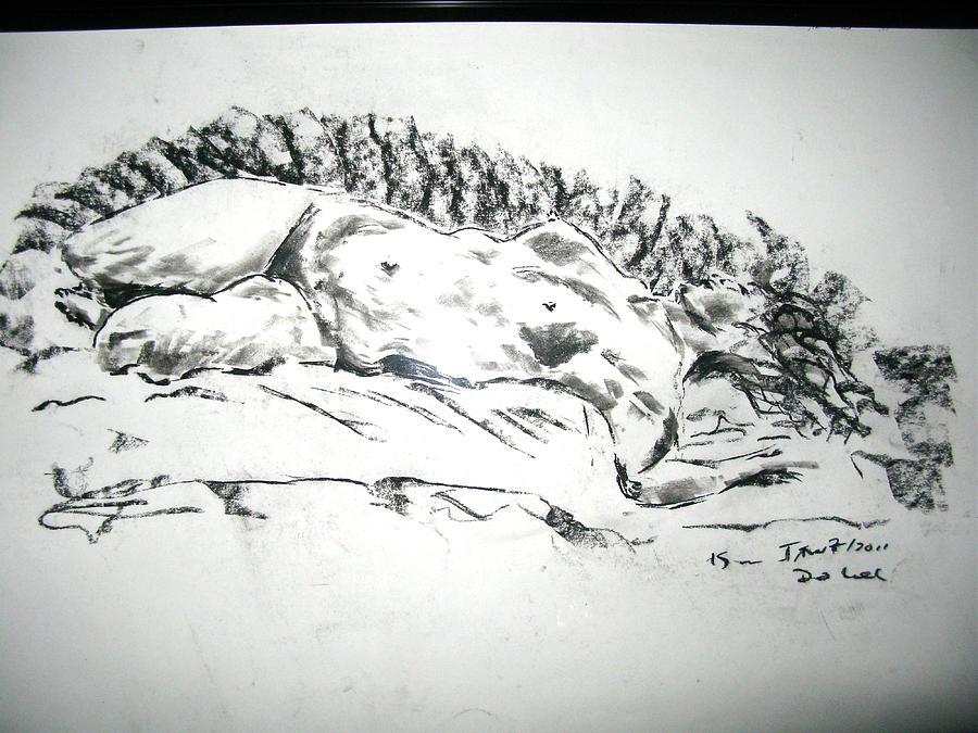Resting Medusa Drawing - Medusa In Recline by Brian Sereda