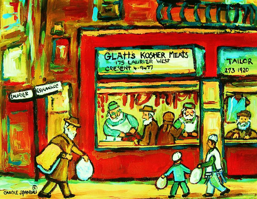 Judaica Painting - Meet Me At The Meat Market by Carole Spandau