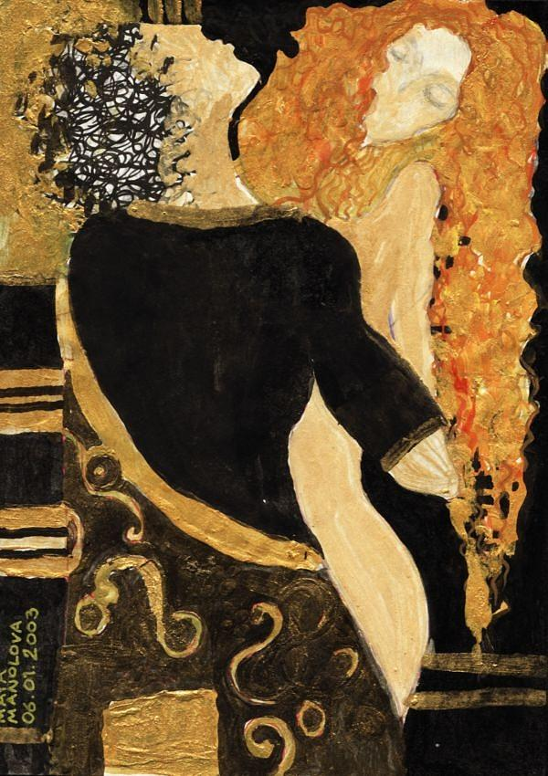Figures Painting - Meeting Gustav Klimt  by Maya Manolova