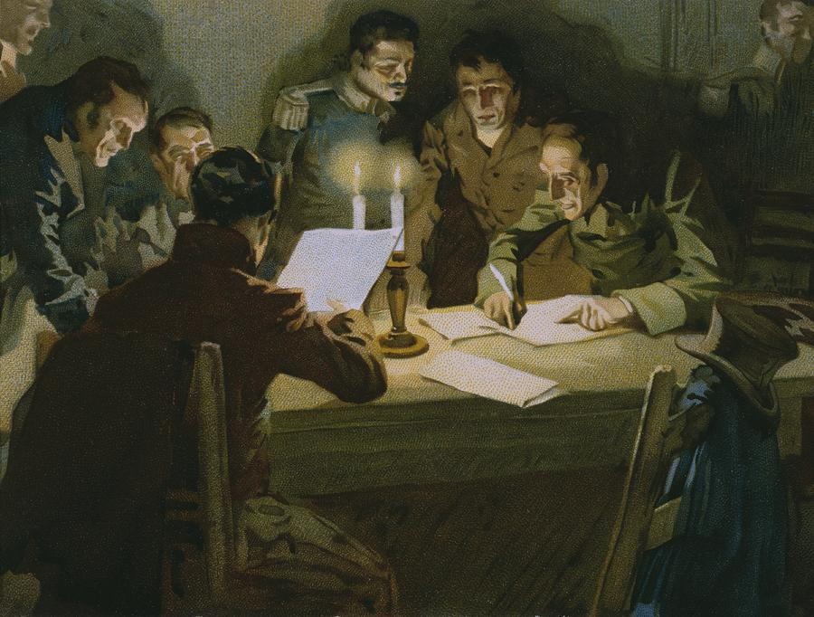 Male; Group; Partisan; Cell; Nationalist Organisation; Italian Unification; Candlelight; Candles; Candlestick; Reading; Nationalism; Society; Freemasonry; Carbonaro; Plotting; Conspirators; Conspirator; Conspiring Painting - Meeting Of The First Partisans Resisting The Occupiers by Italian School