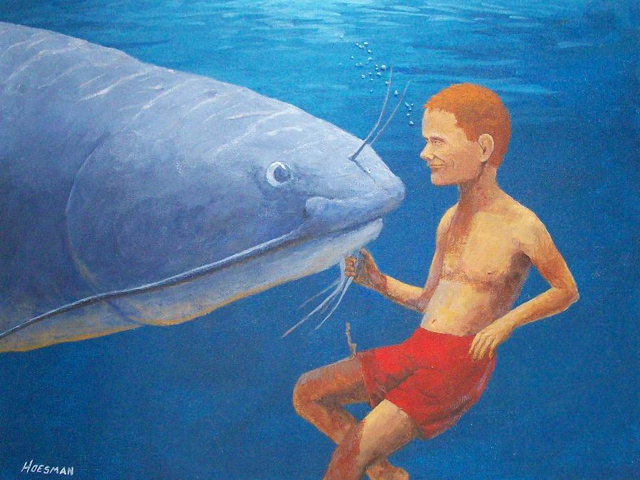 Fish Painting - Meeting With The Giant Catfish by John Hoesman