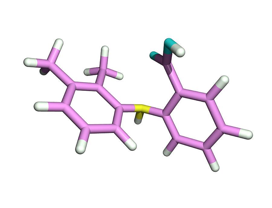 Mefenamic Acid Photograph - Mefenamic Acid Drug Molecule by Dr Tim Evans