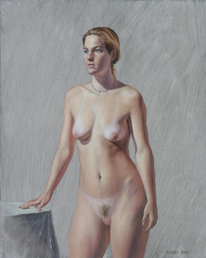 Portrait of mature nude woman talking