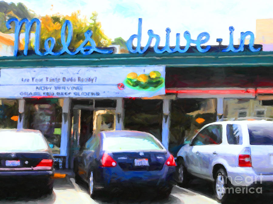 San Francisco Photograph - Mels Drive-in Diner In San Francisco - 5d18014 - Painterly by Wingsdomain Art and Photography