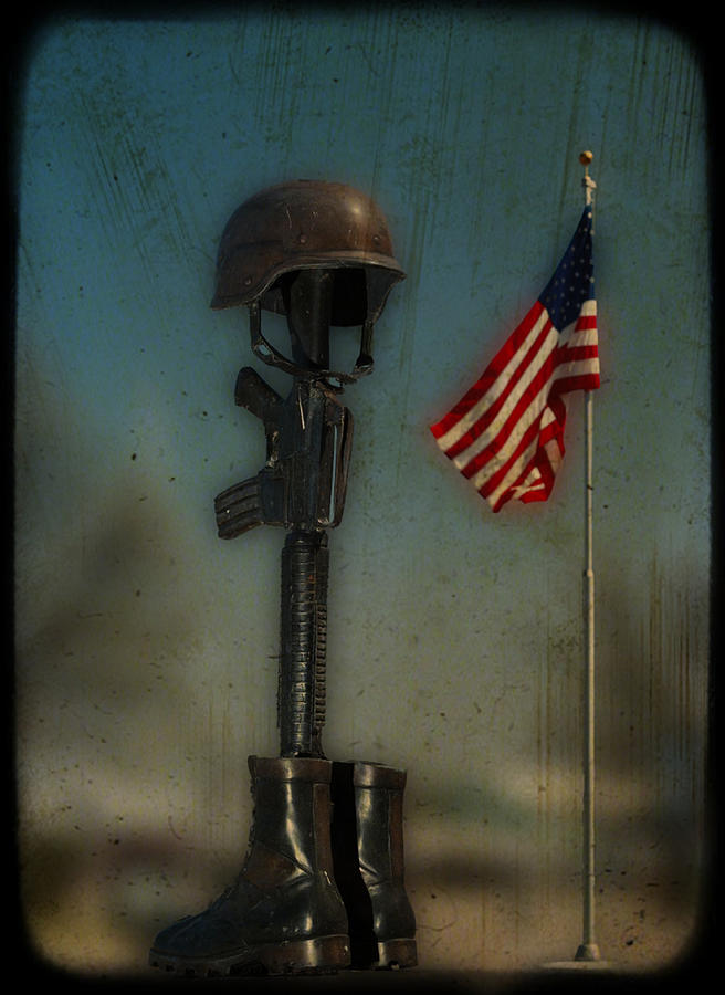 Flag Photograph - Memorial by Brady D Hebert