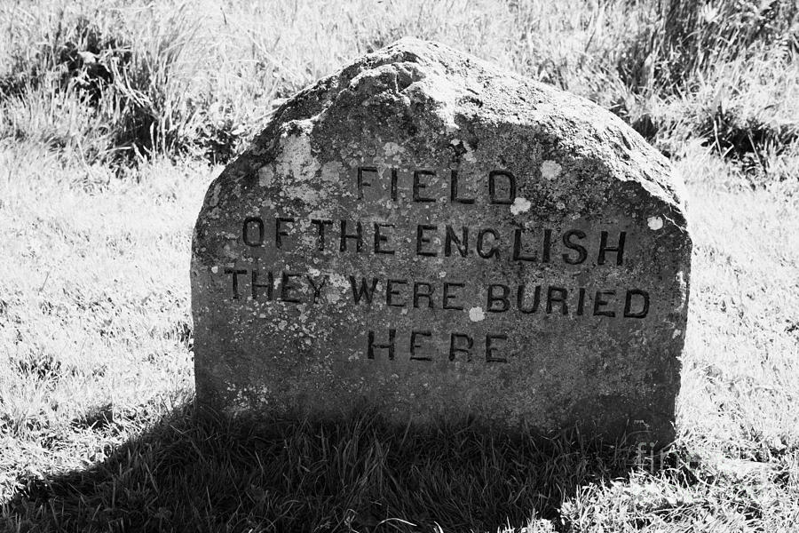 Memorial Photograph - memorial stone for the dead english on Culloden moor battlefield site highlands scotland by Joe Fox