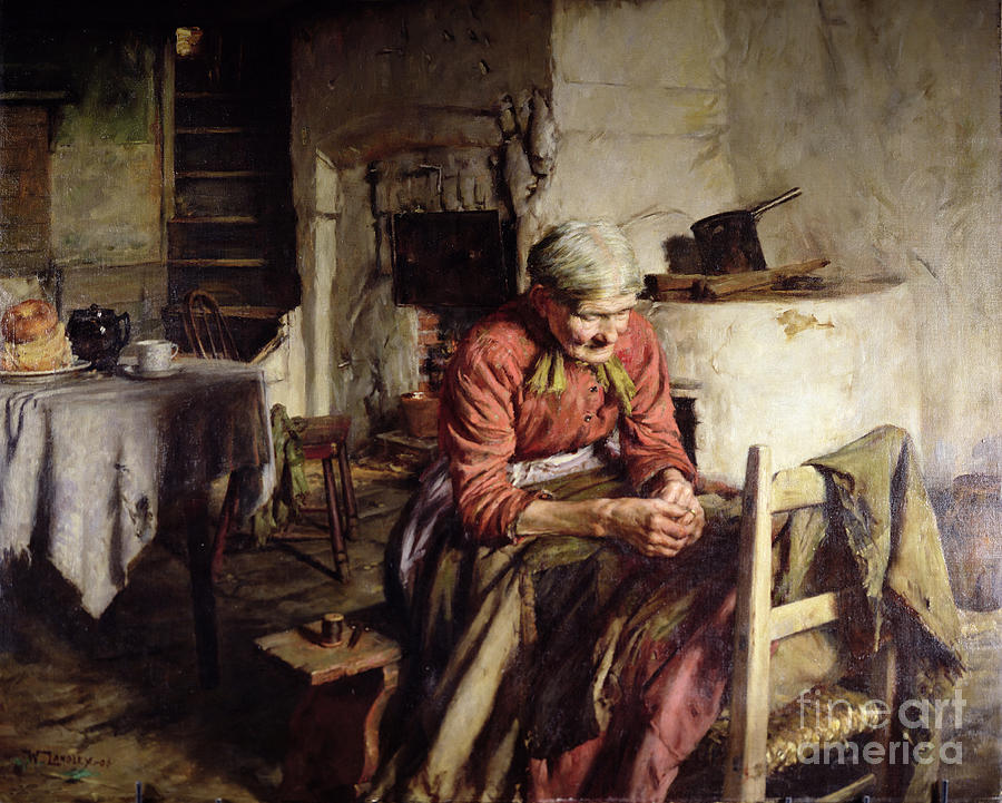 Cottage Interior Painting - Memories by Walter Langley