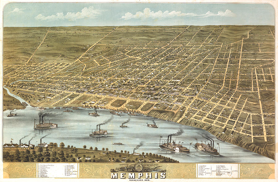 Panoramic Map Digital Art - Memphis Tennessee 1870 by Donna Leach