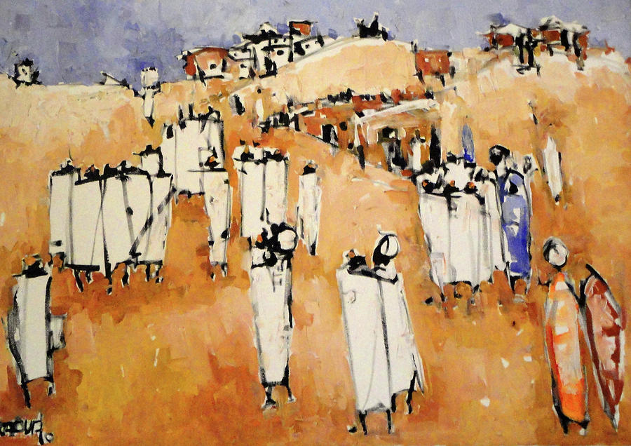 Landscape  Painting - Men In White  by Negoud Dahab