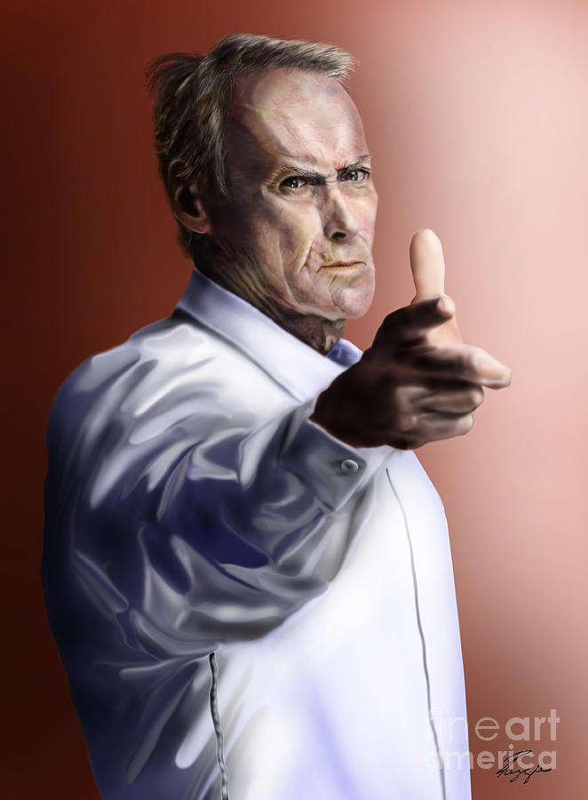 Dirty Harry Painting - Men Must Know Their Limitations-clint Eastwood by Reggie Duffie