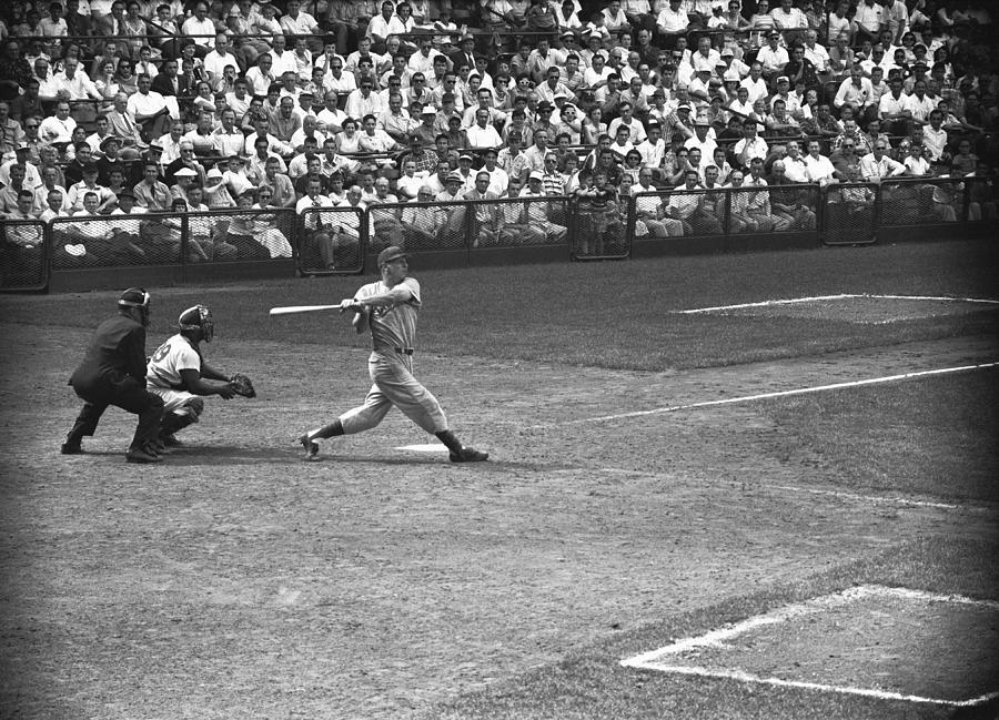 Adult Photograph - Men Playing Baseball, (b&w), Elevated View by George Marks