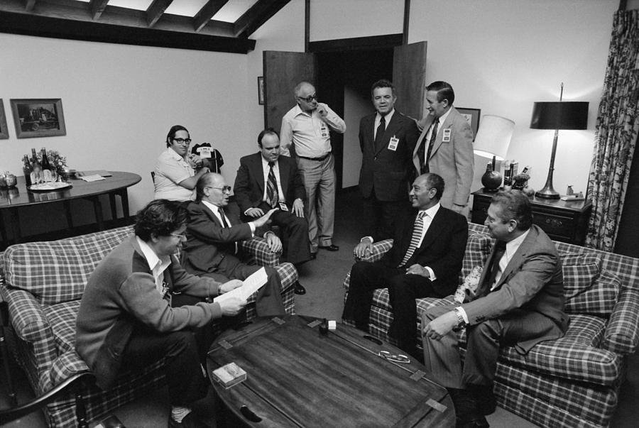 History Photograph - Menahem Begin And Anwar Sadat by Everett