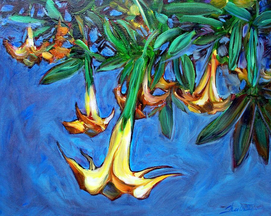 Mendocino Painting - Mendocino Angel Trumpet by Sheila Tajima