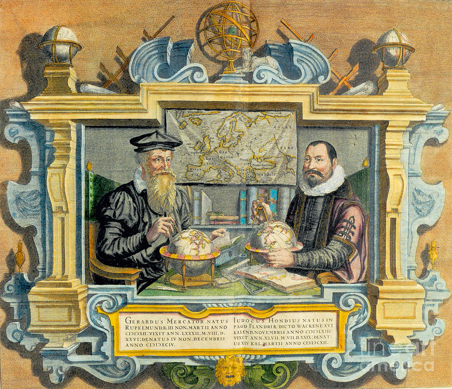 People Photograph - Mercator And Hondius by Science Source