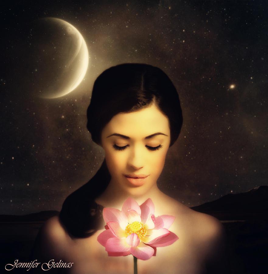 Lotus Digital Art - Merkaba by Jennifer Gelinas