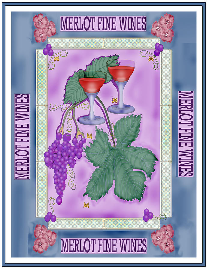 Grapes Painting - Merlot Fine Wines Orchard Box Label by Anne Norskog