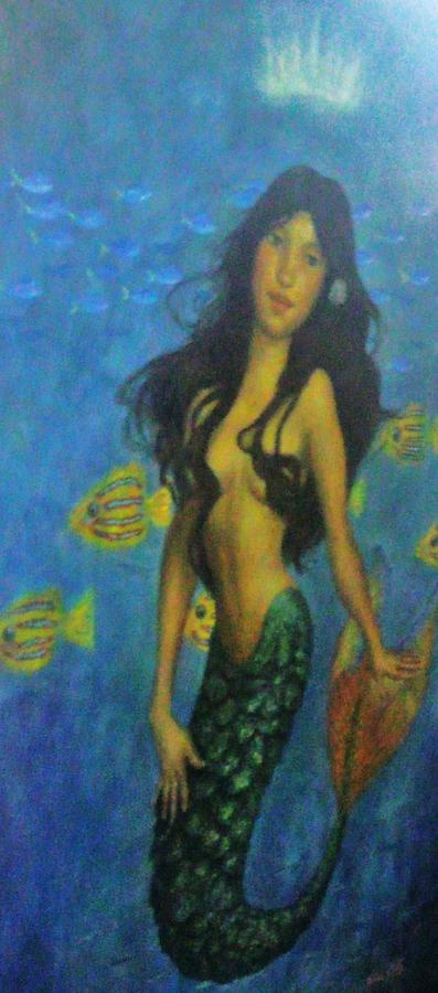 Topless Painting - Mermaid by Alexandro Rios