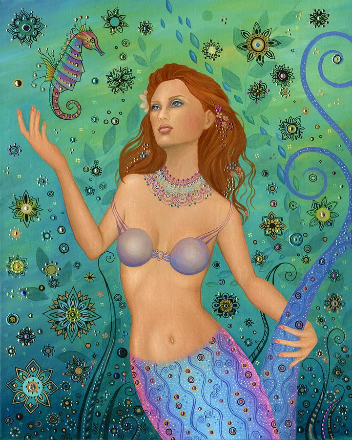 Mermaid Painting - Mermaid And Seahorse by B K Lusk