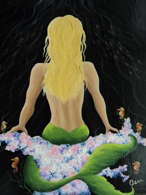 Mermaid Painting - Mermaid On Coral by Osee Koger
