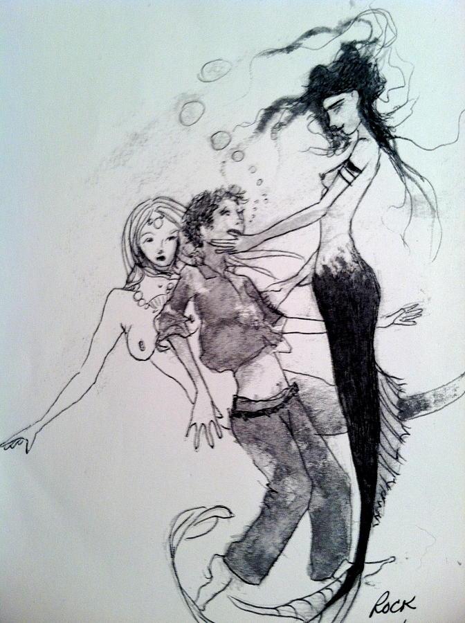 Mermaids Drawing by Jackie Rock