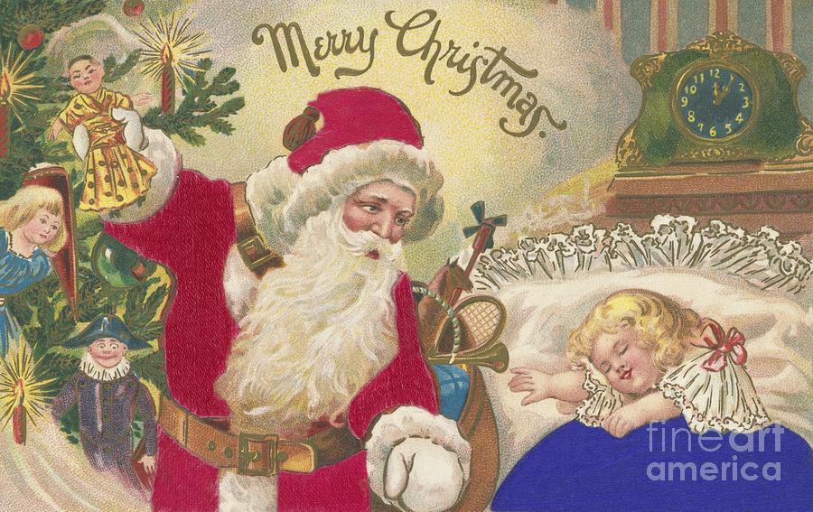 Christmas Card Painting - Merry Christmas by American School