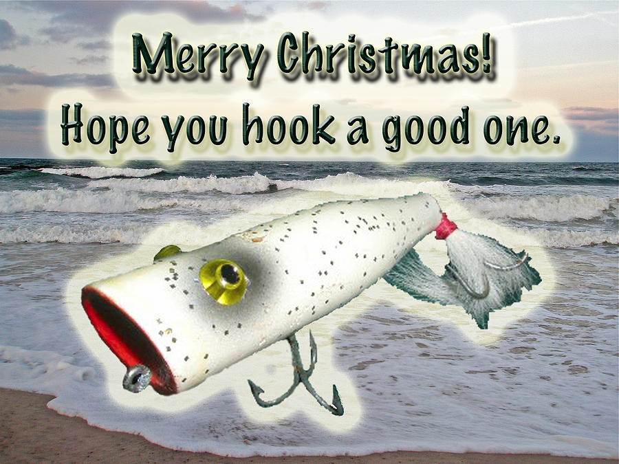 merry christmas greeting card vintage saltwater fishing lure photograph by mother nature