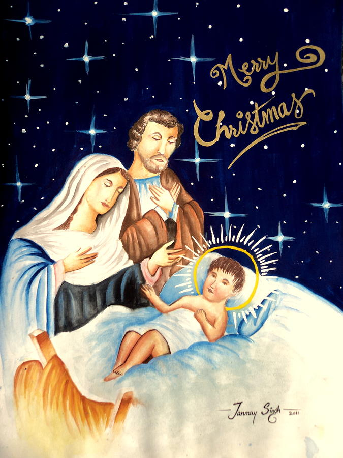 Religious Artwork Painting - Merry Christmas by Tanmay Singh