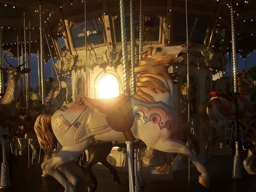 Sunset Photograph - Merry Go Round At Sunset by Steve Huang