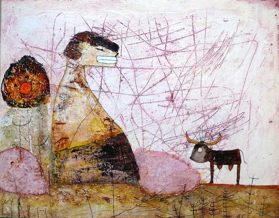 Primitive Paintings Painting - Mess Is Thinking.... by Apple Vail