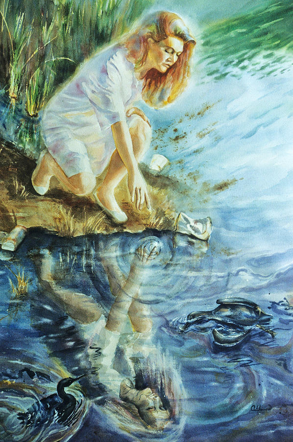 Landscape Painting - Message In The Water by Catherine Foster