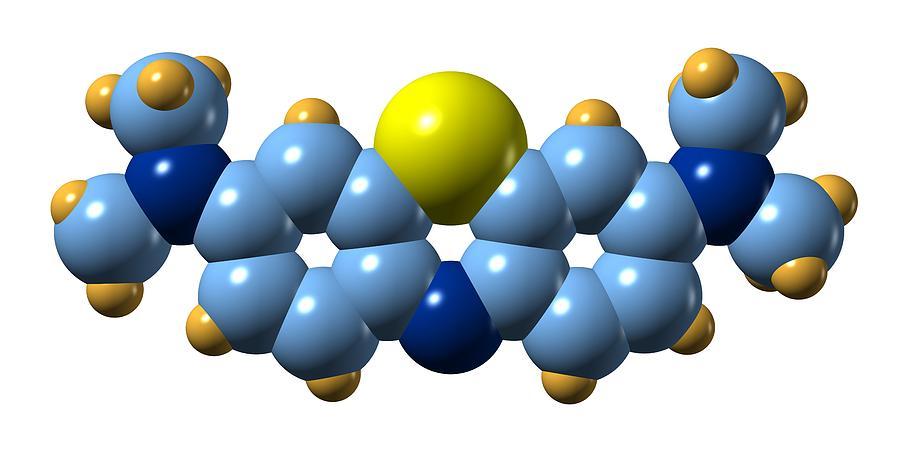 Methylene Blue Photograph - Methylene Blue, Molecular Model by Dr Mark J. Winter
