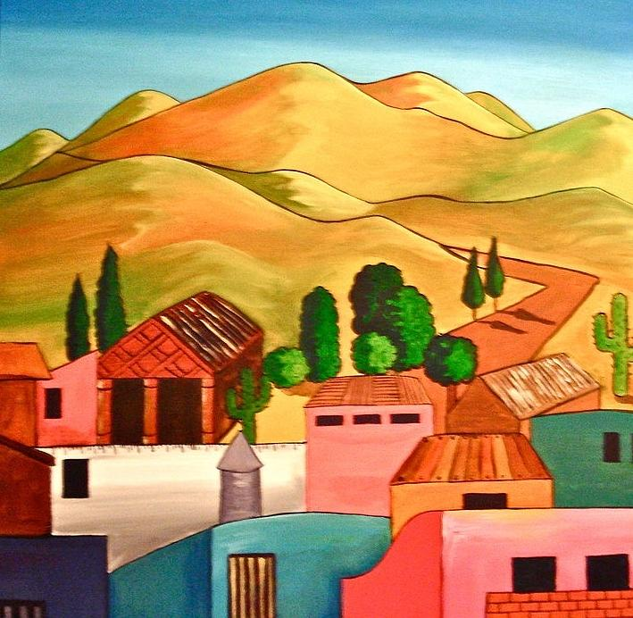 Paintings Of Colorful Mexican Pueblo