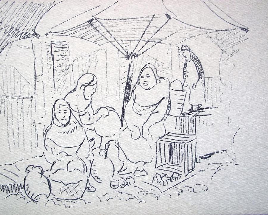 Women Drawing - Mexican Clay Pottery by Bill Joseph  Markowski
