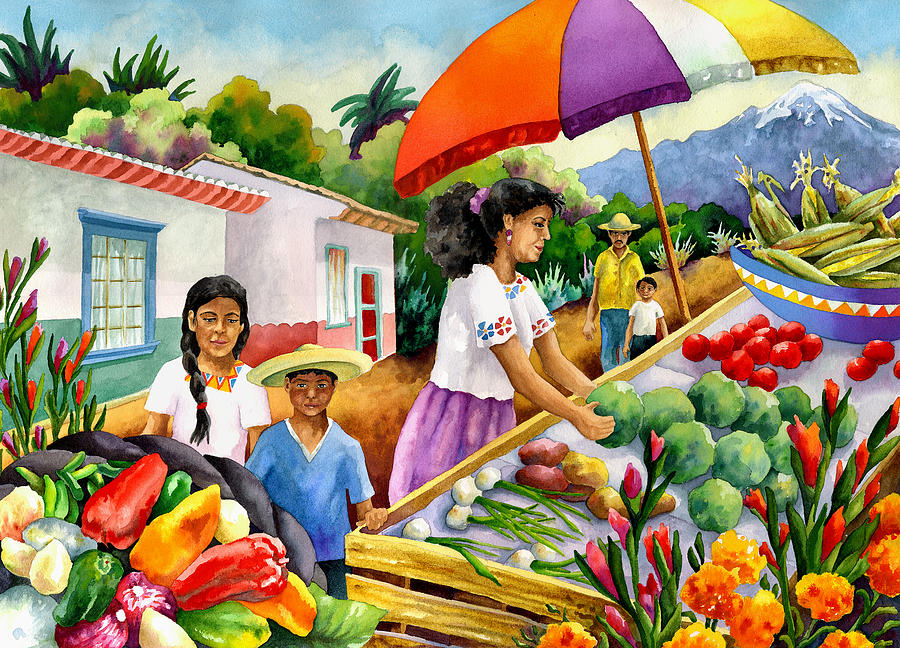 Mexican Marketplace Painting by Anne Gifford