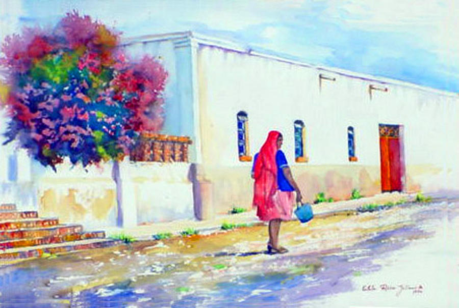 Mexico Paintings Painting - Mexico Woman With Blue Bucket by Estela Robles