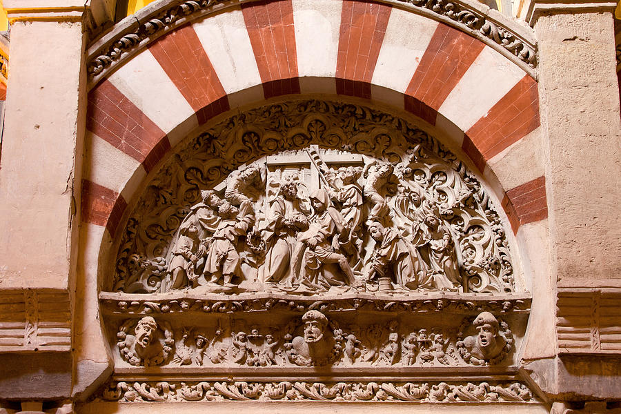 Cathedral Photograph - Mezquita Cathedral Religious Carving by Artur Bogacki