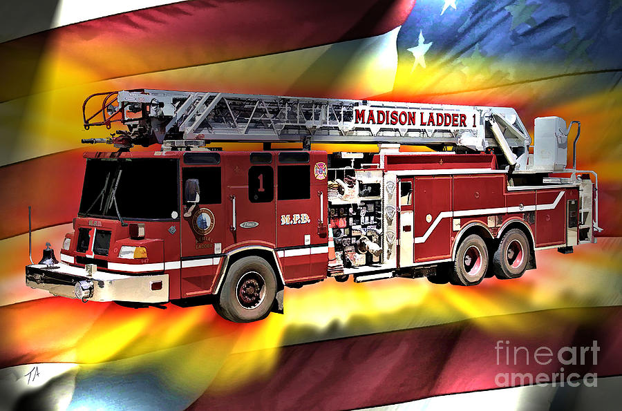 Madison Digital Art - Mfd Ladder Co 1 by Tommy Anderson