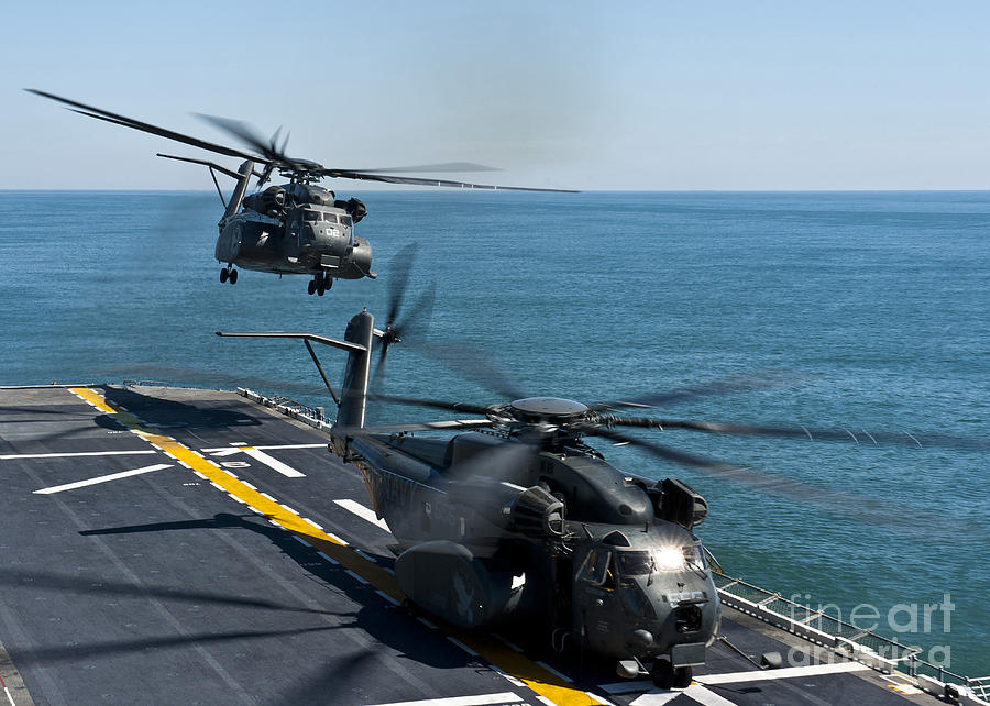 Uss Wasp Photograph - Mh-53e Sea Dragon Helicopters Take by Stocktrek Images