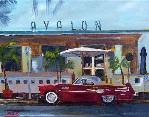Avalon Hotel Painting - Miami Beach Avalon Thunderbird by Maria Soto Robbins