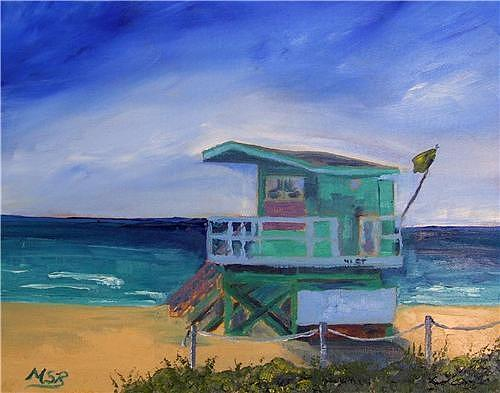 Miami Painting - Miami Beach Lifeguard Shack 41 St. by Maria Soto Robbins