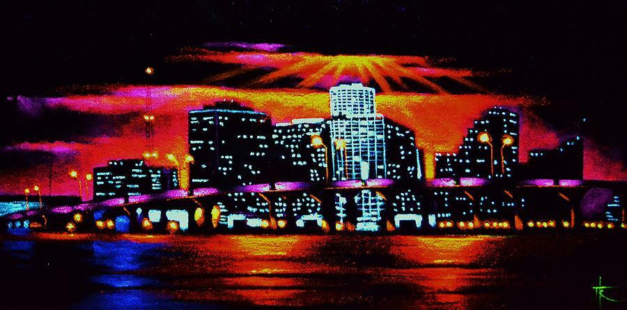 Miami Painting - Miami By Black Light by Thomas Kolendra