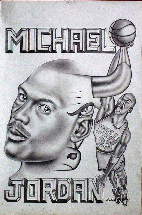 Portraits Drawing - Michael Jordan Double Exposure by Rick Hill