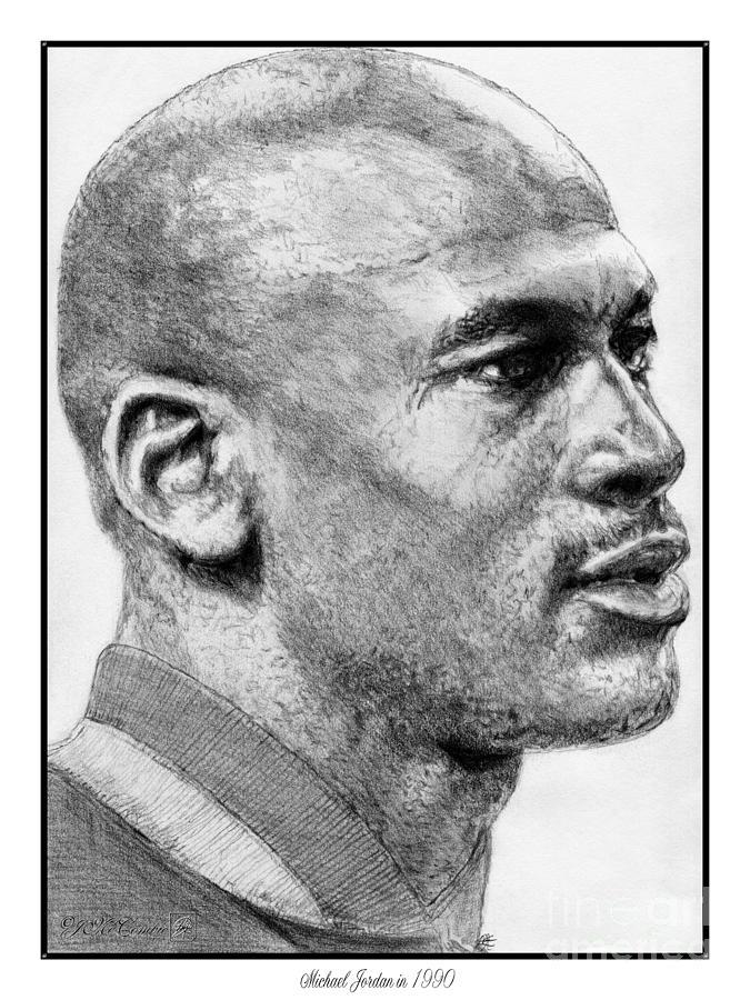 Michael Jordan Drawing - Michael Jordan In 1990 by J McCombie