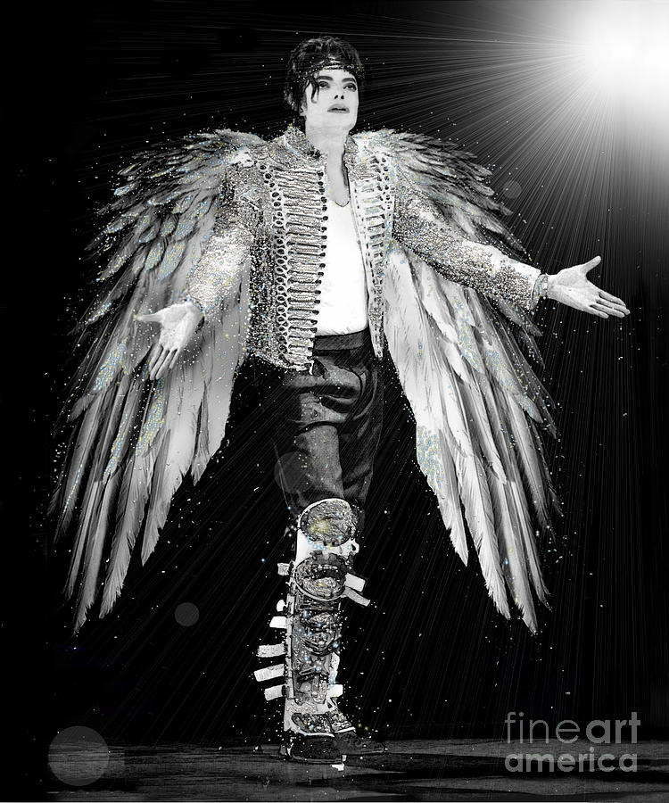 Michael Jackson Digital Art - Michael King Of Angels by Karine Percheron-Daniels